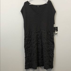 Nine West Gray Knit Ruched Skirt Sweater Dress